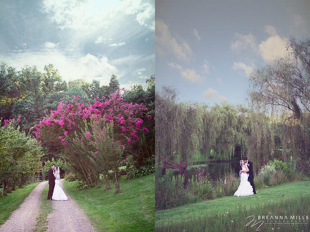 Johnson City, TN wedding photographer Breanna Mills Photography photographs creative bridal portraits of bride and groom on their wedding day at Storybrook Farm wedding venue.
