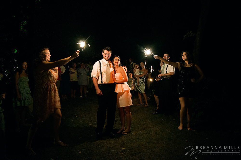 Johnson City, TN wedding photographer Breanna Mills Photography shoots the sending off of a bride and groom after their wedding at Storybrook Farm wedding venue.