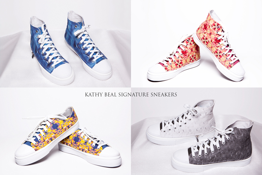 Kathy Beal Signature Sneakers, as seen on the runway at Santa Fe Fashion Week, now available for purchase!  Click  HERE  to order.