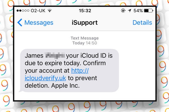 The text claims to be from Apple – and tells iPhone owners to follow a URL to save their account