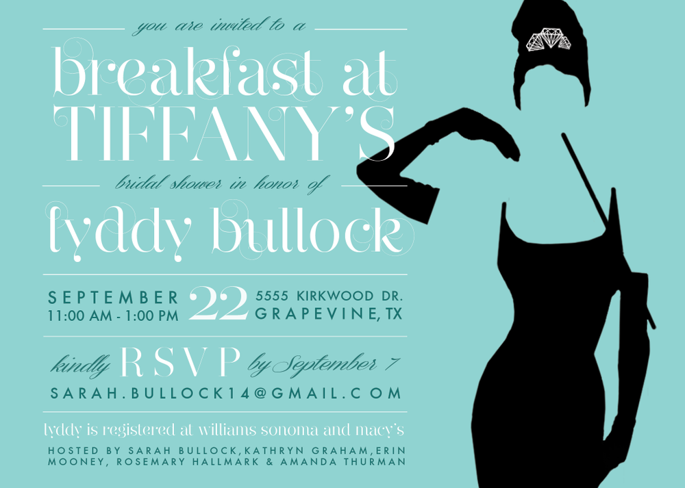 Breakfast at Tiffany's Bridal Shower Invitation | Weddings | Brides | Lingerie Shower | Audrey Hepburn | By Rosemary Hallmark Creative