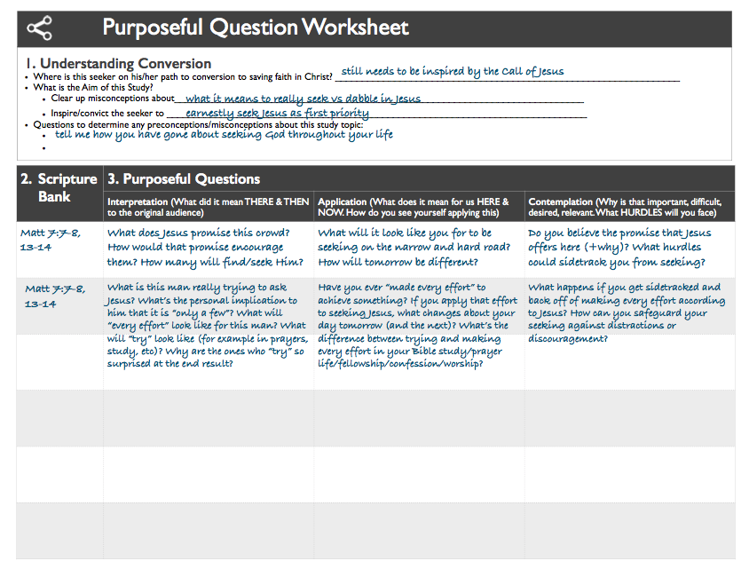 Here's an example of a Purposeful Question Worksheet for a Bible study on Seeking God. For a pdf of this example, click HERE