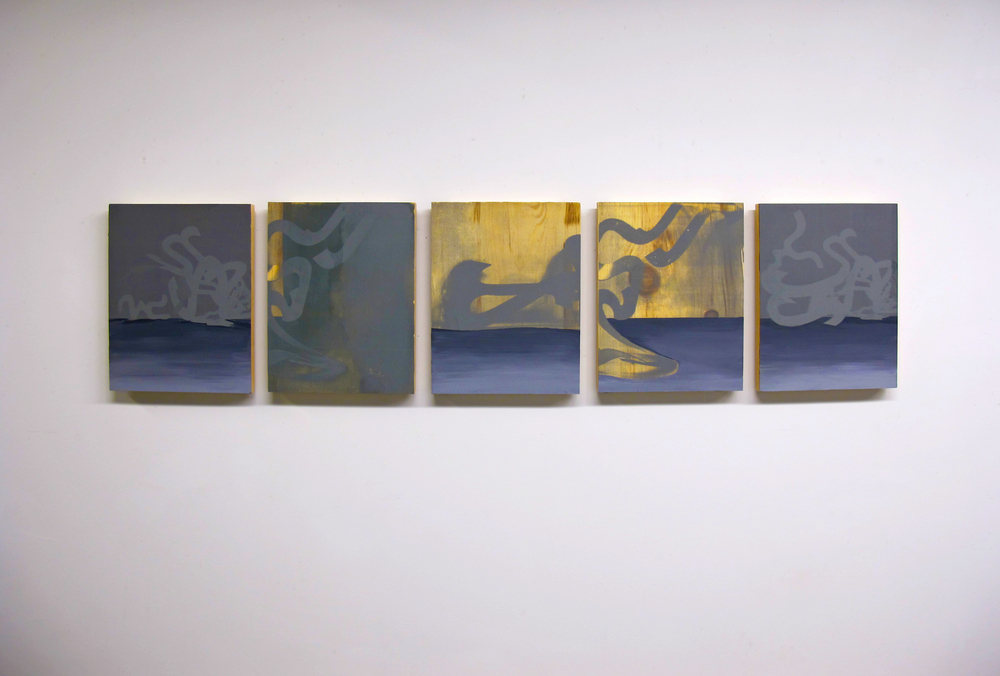 "Iterative Translations , 2013. Screen print & acrylic on wood, 46"" x 12"" overall"