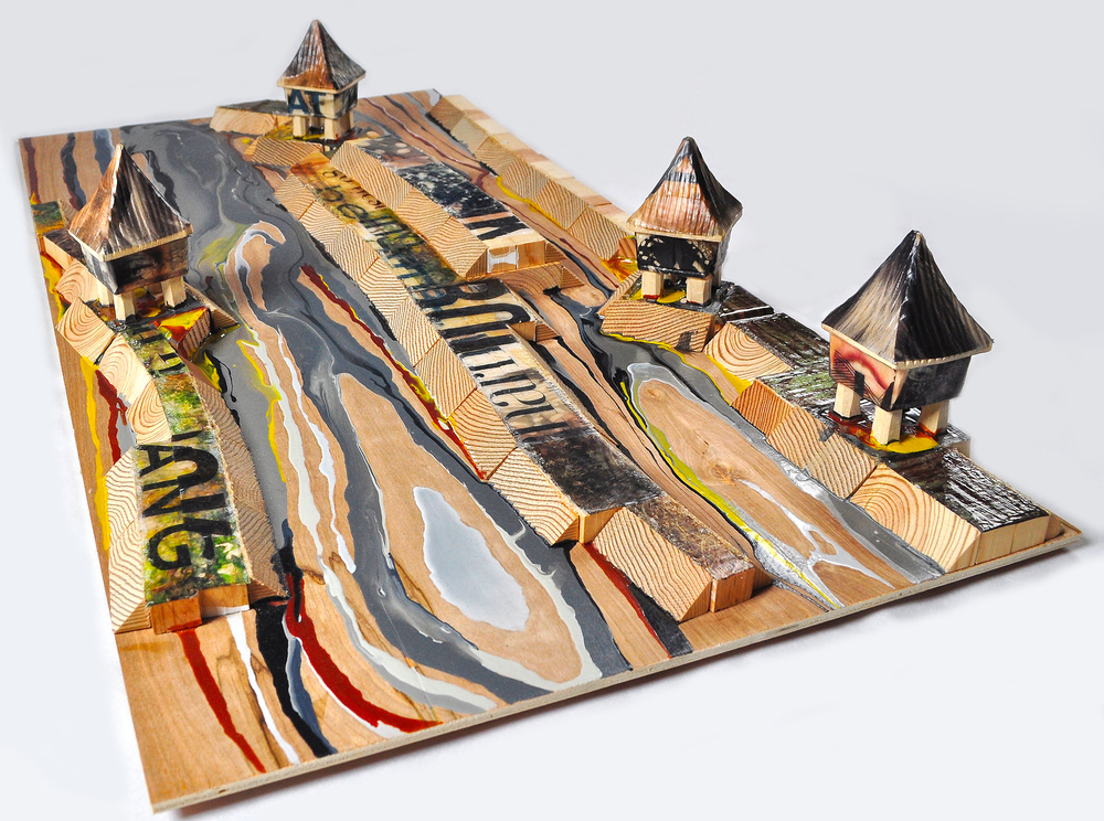 "Rice Fields , 2011. Wood, acrylic, & image transfers, 32"" x 16"" x 5"" (Photo: Ramon Pintado)"