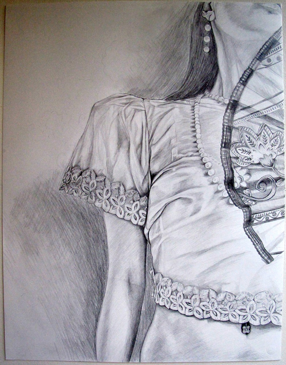 "Maria Clara Alter Ego , 2010. Graphite on paper, 30"" x 22""  (In Private Collection)"