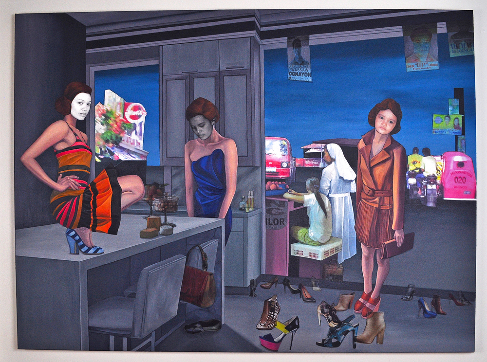 "What Could've Been or Not , 2011. Acrylic & image transfer on canvas, 40"" x 54"" (Photo: Ramon Pintado)"