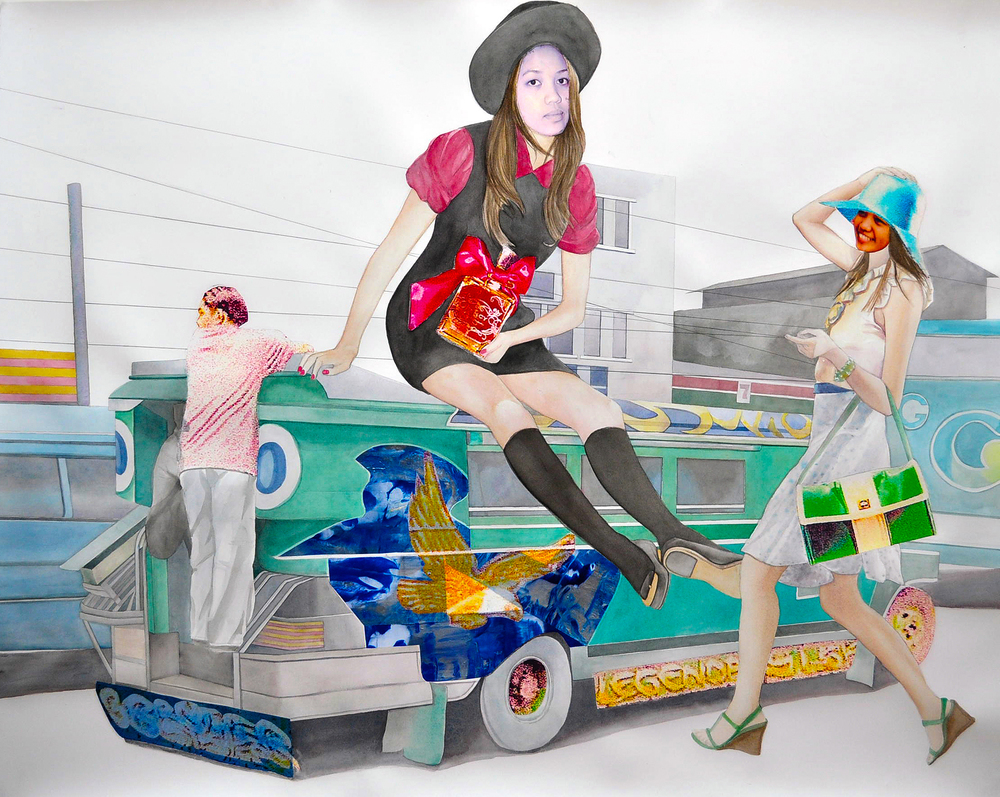 "Fancy Joyride , 2009. Gouache, acrylic, & image transfer on paper, 36"" x 45"" (Photo: Ramon Pintado)"