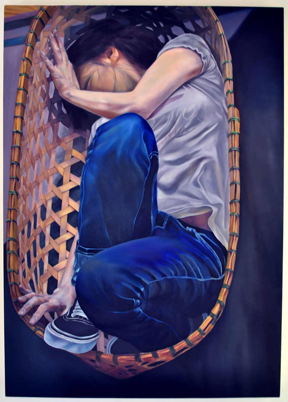 "Self-contained , 2009. Oil on canvas over panel, 42"" x 30"""