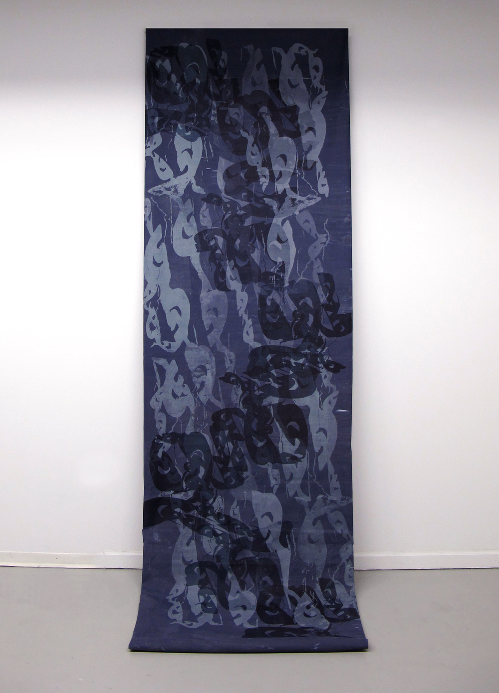 "Scroll of Innocent Mistranslations , 2013.Silkscreen & acrylic on muslin, 108"" x 40"""