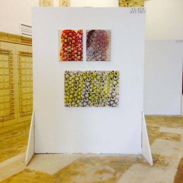 """Top:Pina Piña Diptych, 2014.Silkscreen on muslin and silkscreen on synthetic organza layered over silkscreen on muslin, 32"""" x 20"""" overall.Bottom:Pina Eyes, 2014.Silkscreen on muslin, 36"""" x 24"""""""