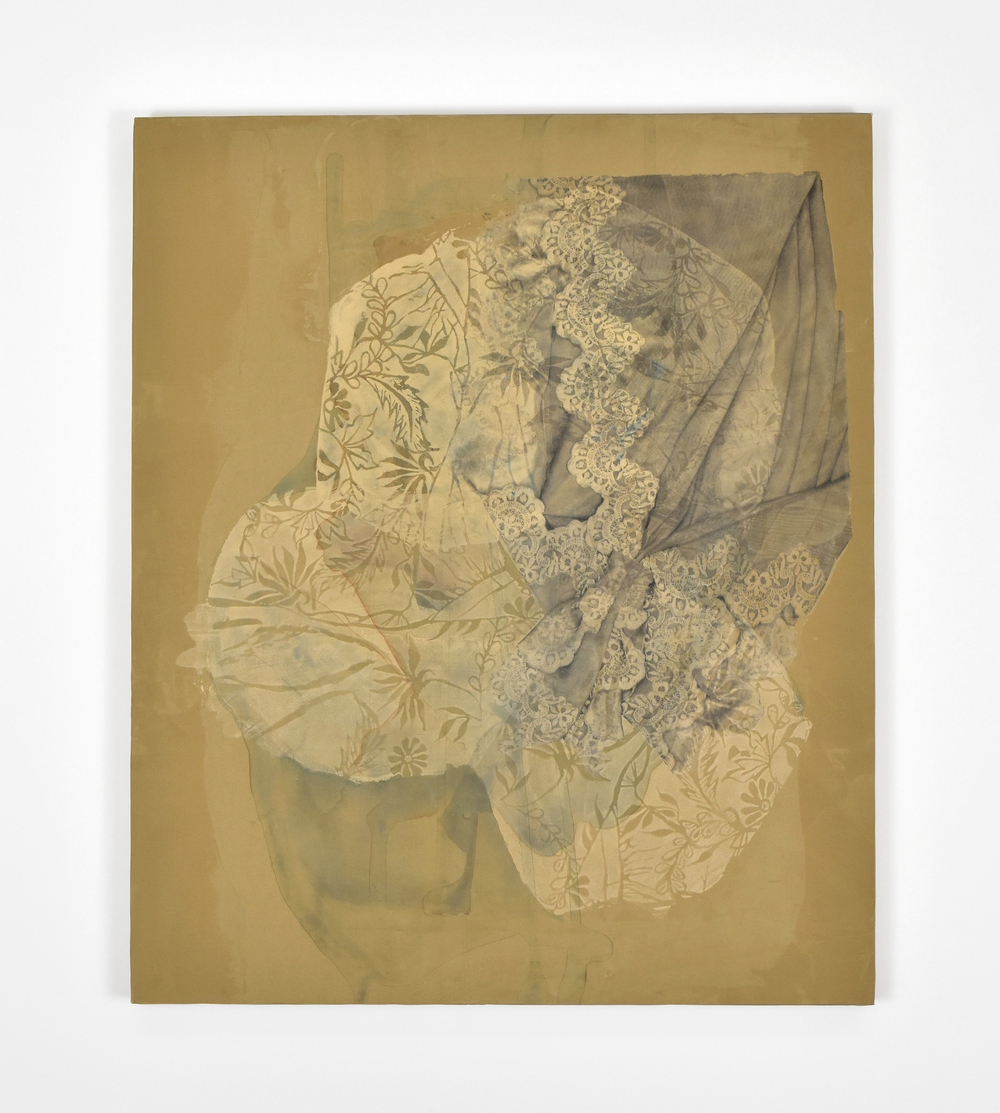 "Intertwined , 2016. Image transfer & silkscreen on paper and synthetic organza mounted on panel, 24"" x 20"""