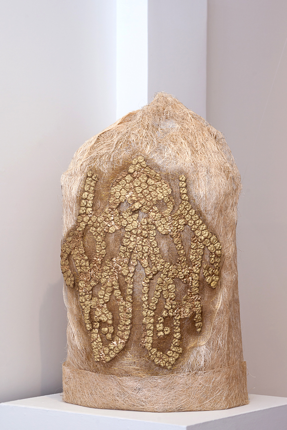 "After Maria Clara's Piña Fiber Sleeve , 2014. Abaca fiber & spray paint on abaca pulp cast, 48"" x 26"" x 18"" (Photo: Mido Lee)"