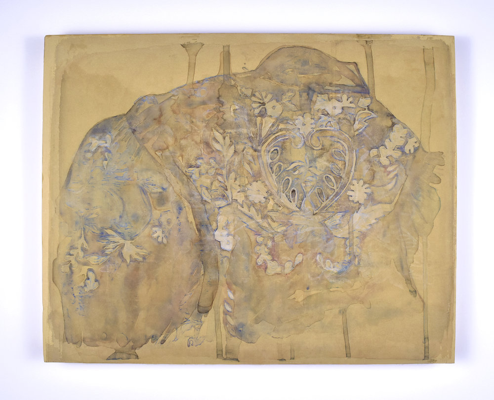 "Rea Lynn de Guzman,Ghost, 2015.Layered monoprints on paper mounted on panel, 20"" x 16"""