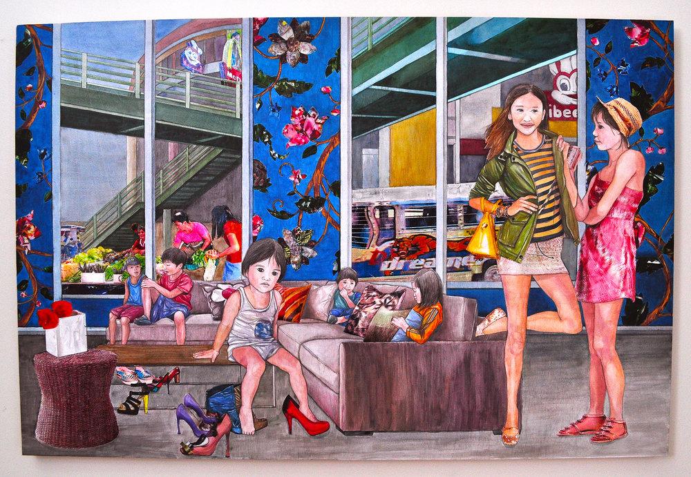 "Rea Lynn de Guzman,The Dreamer, 2010. Acrylic, & image transfer on panel, 48"" x 32"" (Photo: Ramon Pintado)"