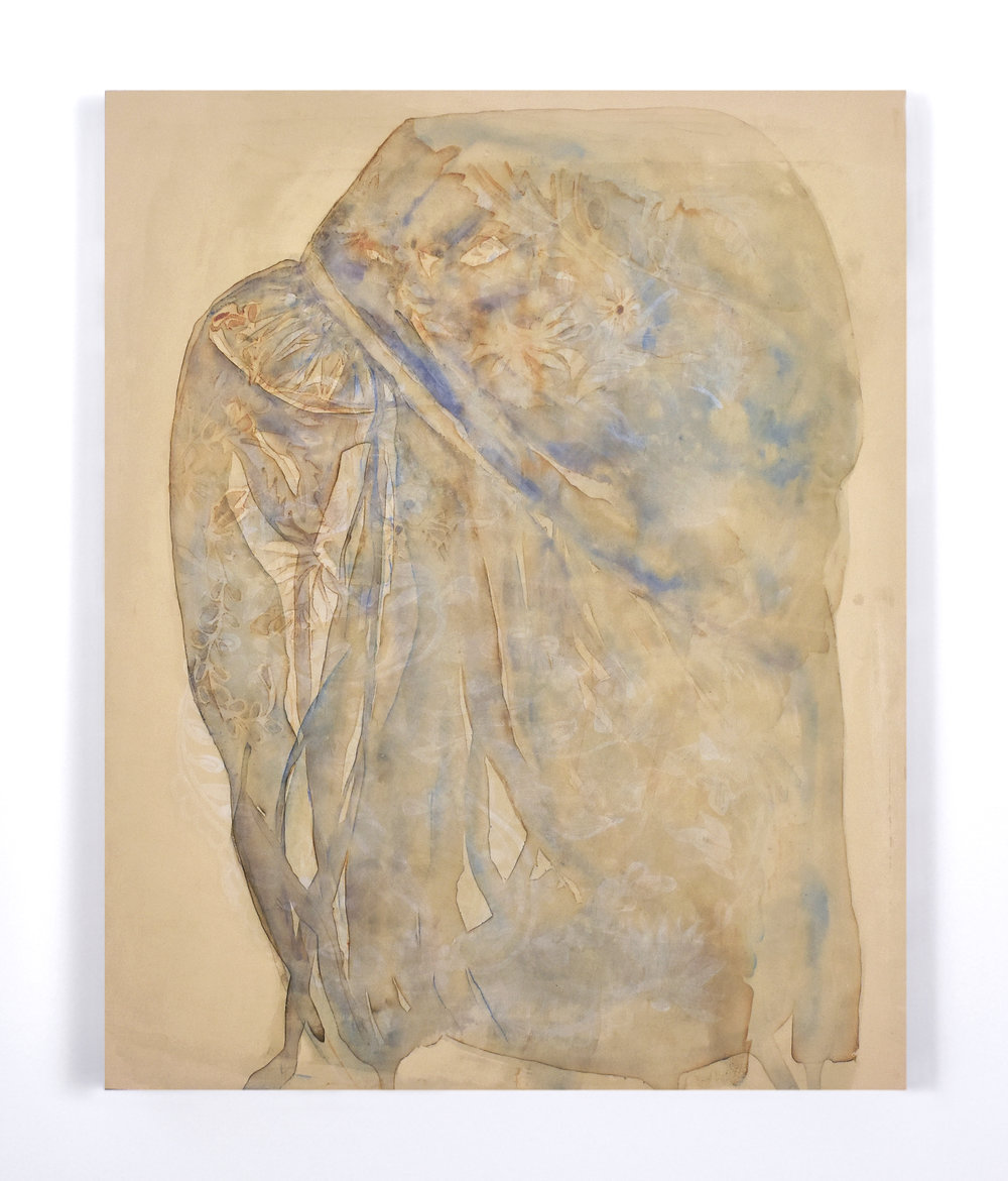 "Rea Lynn de Guzman,Sleeve Fragment, 2015.Layered monoprints on paper mounted on panel, 16"" x 20"""
