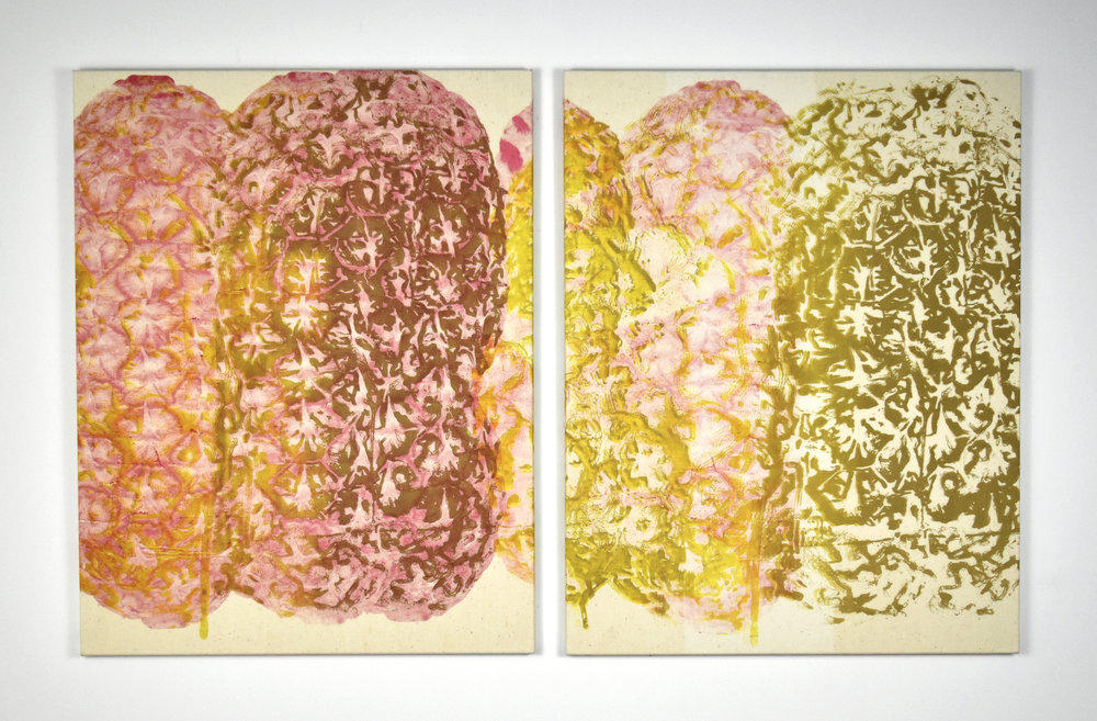 """Piña Ooze Diptych , 2014.Silkscreen on muslin, 28"""" x 44"""" overall"""