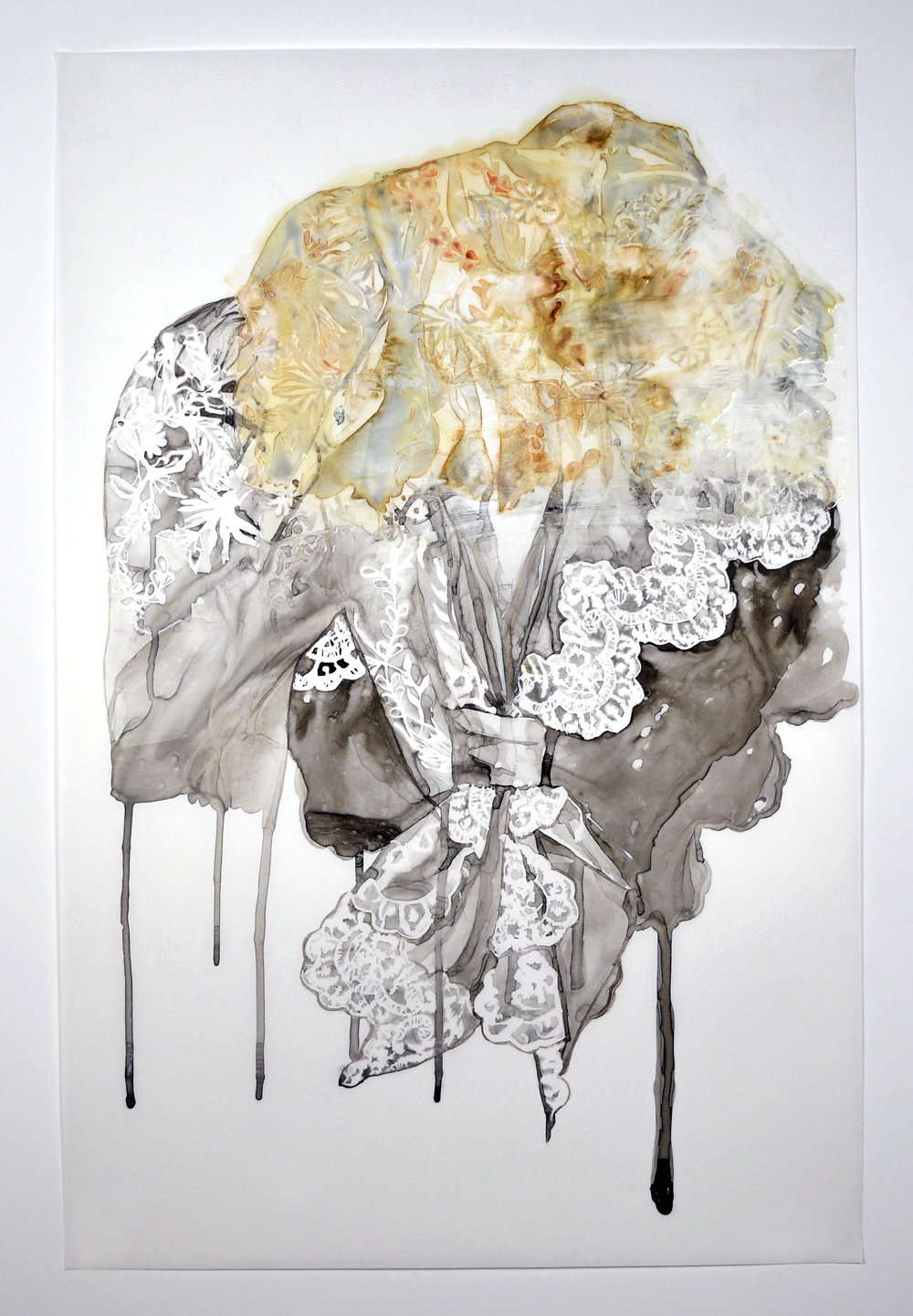 "Hybrid , 2015. Monoprint, sumi ink, & acrylic medium on Yupo paper, 35"" x 23"""
