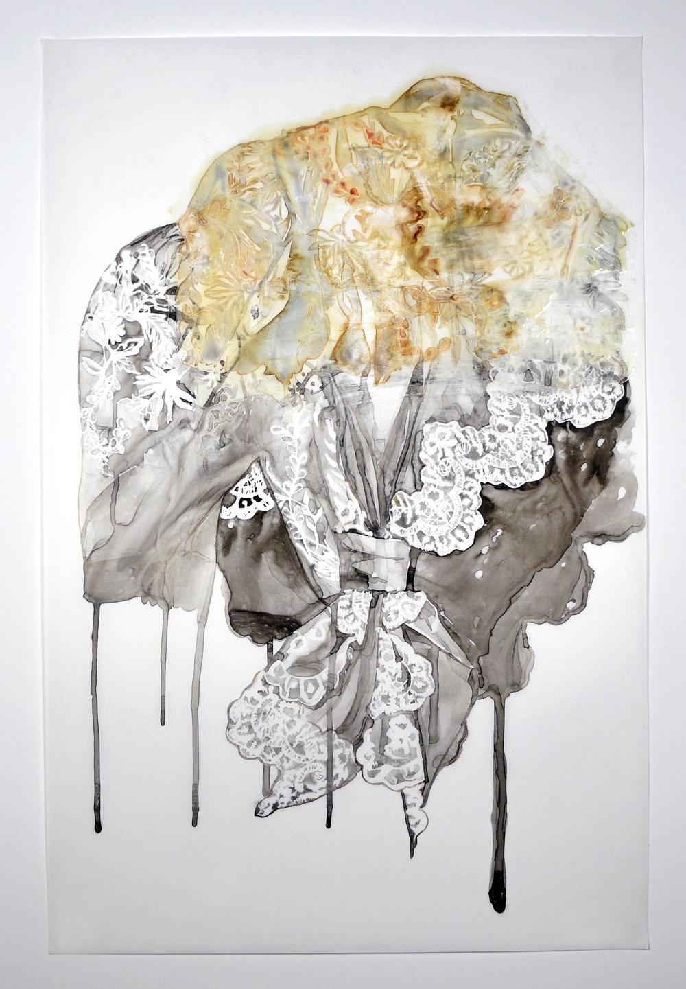 "Hybrid , 2015.Monoprint, sumi ink, & acrylic medium on Yupo paper, 23"" x 35"""