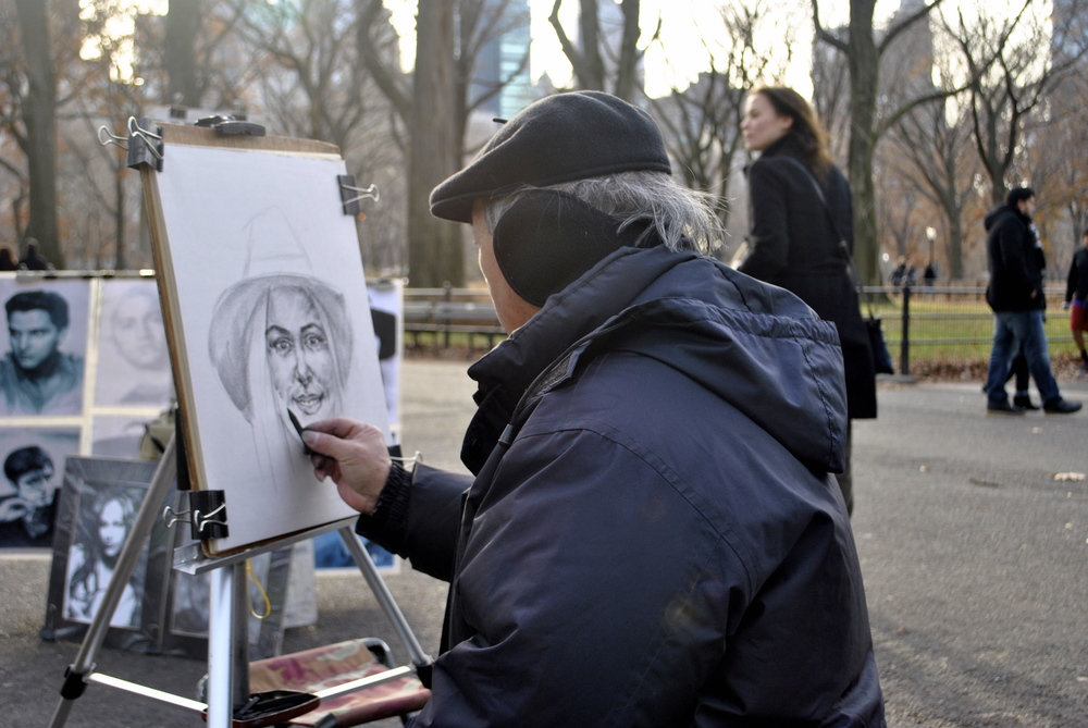 Central Park.. this lovely man asked to draw me.