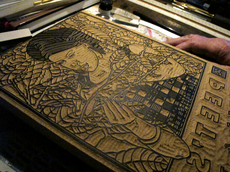Jan 21st 2011   At the print shop today. Mr. Goines showed me his woodblock for a poster he did for Peet's coffee.