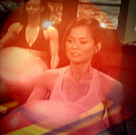 March 10, 2011   Work out video layered with my roommate's exercise ball.