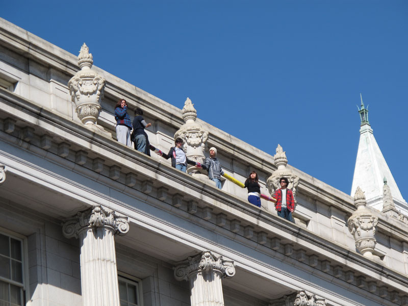 March 3, 2011   Students chain themselves together on the ledge, atop a UC Berkeley building, protesting education cuts. Read the news  here .