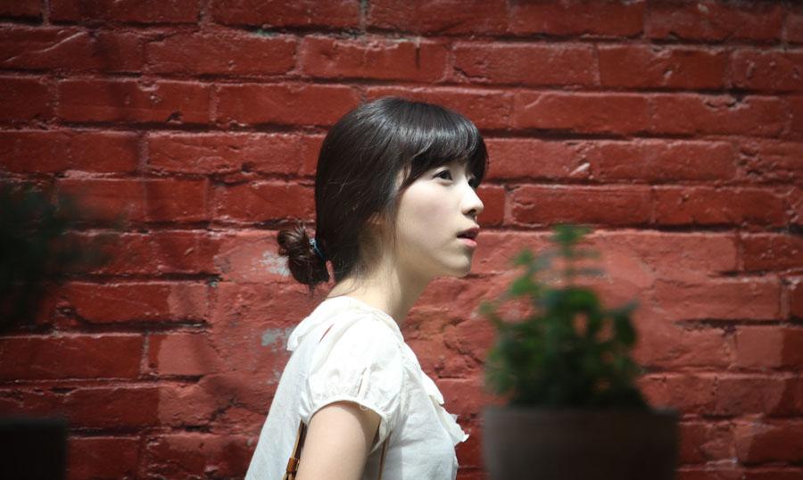 A model doing a fashion shoot in Samchungdong, Seoul.