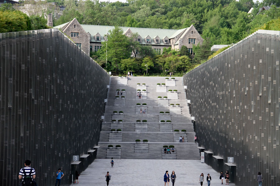 Dominique Perrault designed the campus center at Ewha Womans University. Seoul, South Korea.