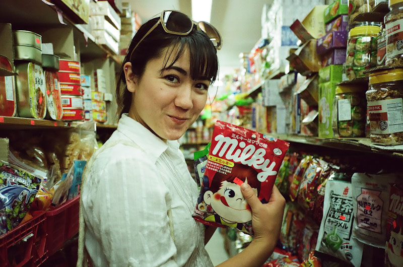 Lisa in the candy aisle.