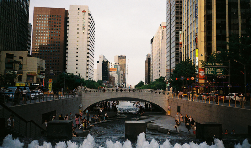 Cheonggyecheon is a beautiful park and walkway in the middle of downtown Seoul.