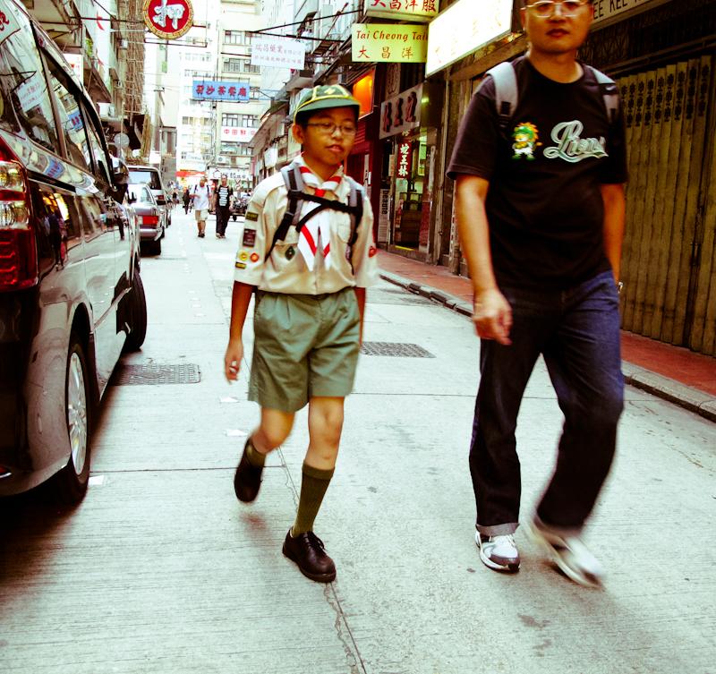 A boy scout in Sheung Wan.