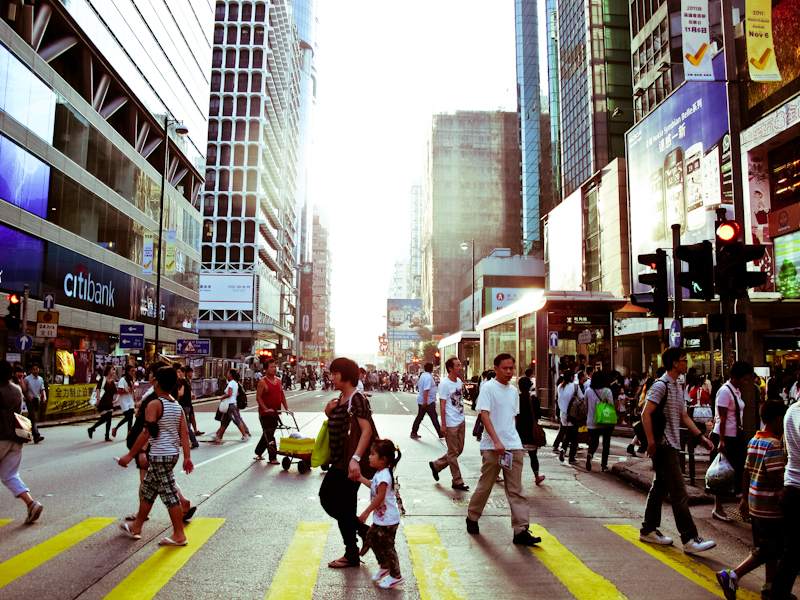Crossing the street in Mong Kok.
