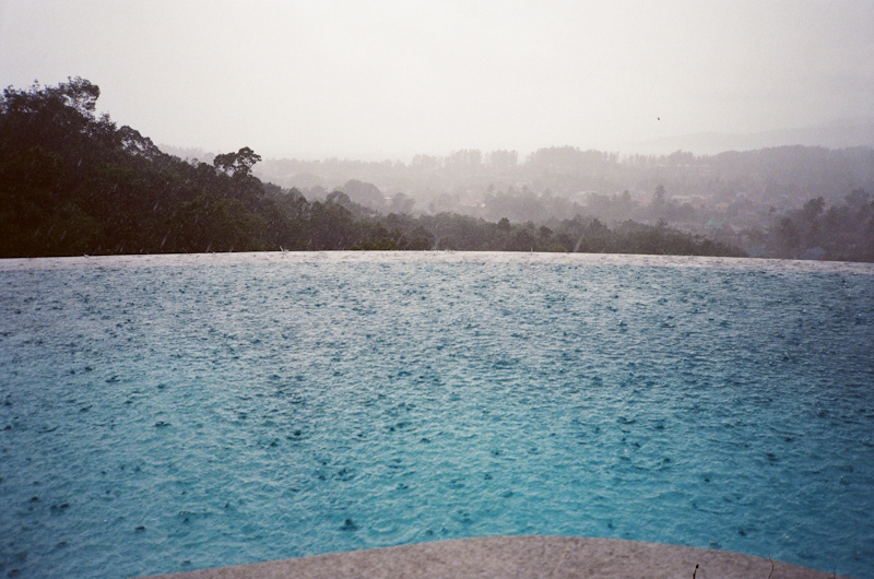 Rain in the infinity pool.