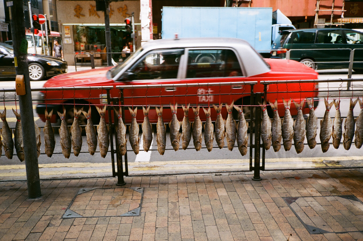 Merchants use the public side walks to air out their fish in the dried-seafood district in Sheung Wan.