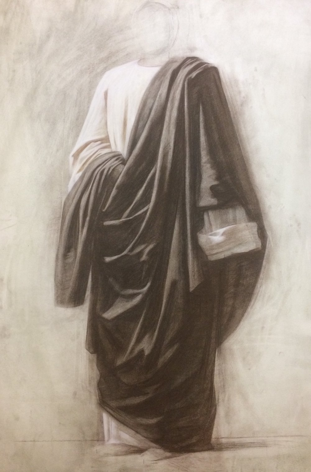 Drapery study, different sepia, charcoal and chalk on paper