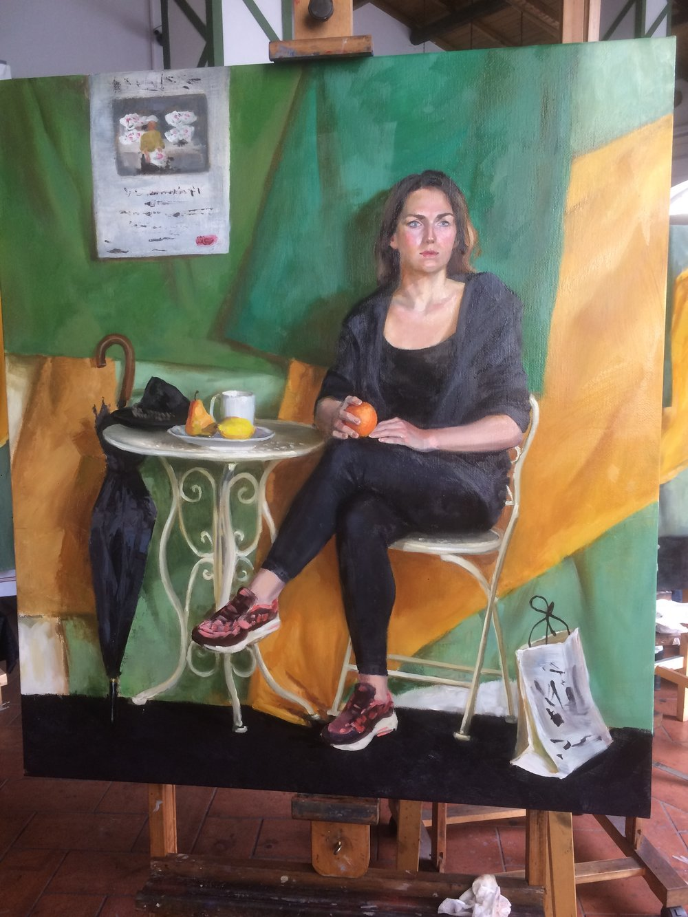 """At the foreign café"", oil on burlap canvas. 100x95 cm"