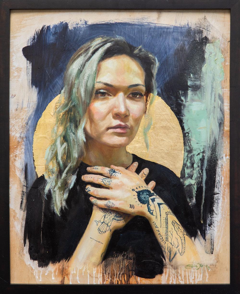 """""""Mikayla"""", Silvia Ilona Klatt, oil and goldleaf on wood, 16x20, 2018"""