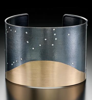 Cuff-Bracelet-Genevieve-Yang-American-18K-gold-oxidized-sterling-silver-white-diamond
