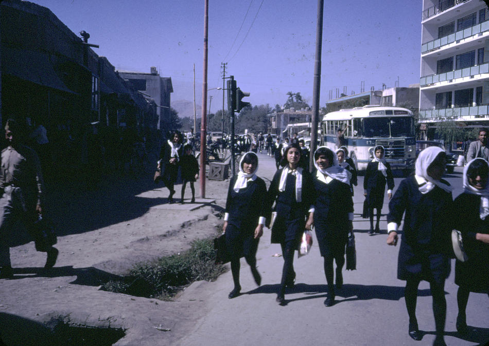 Afghan girls coming home from school.