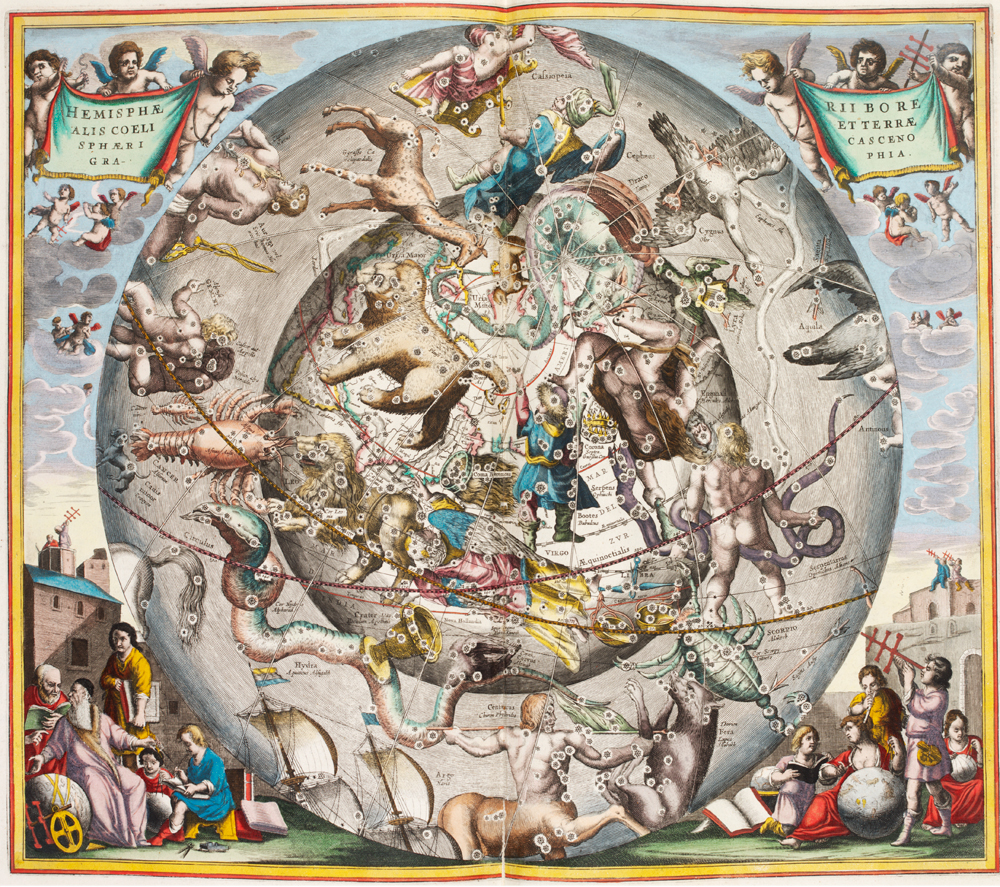 The Constellations with Astrological Signs of the Zodiac, Atlas Coelestic, 1660. Andreas Cellarius