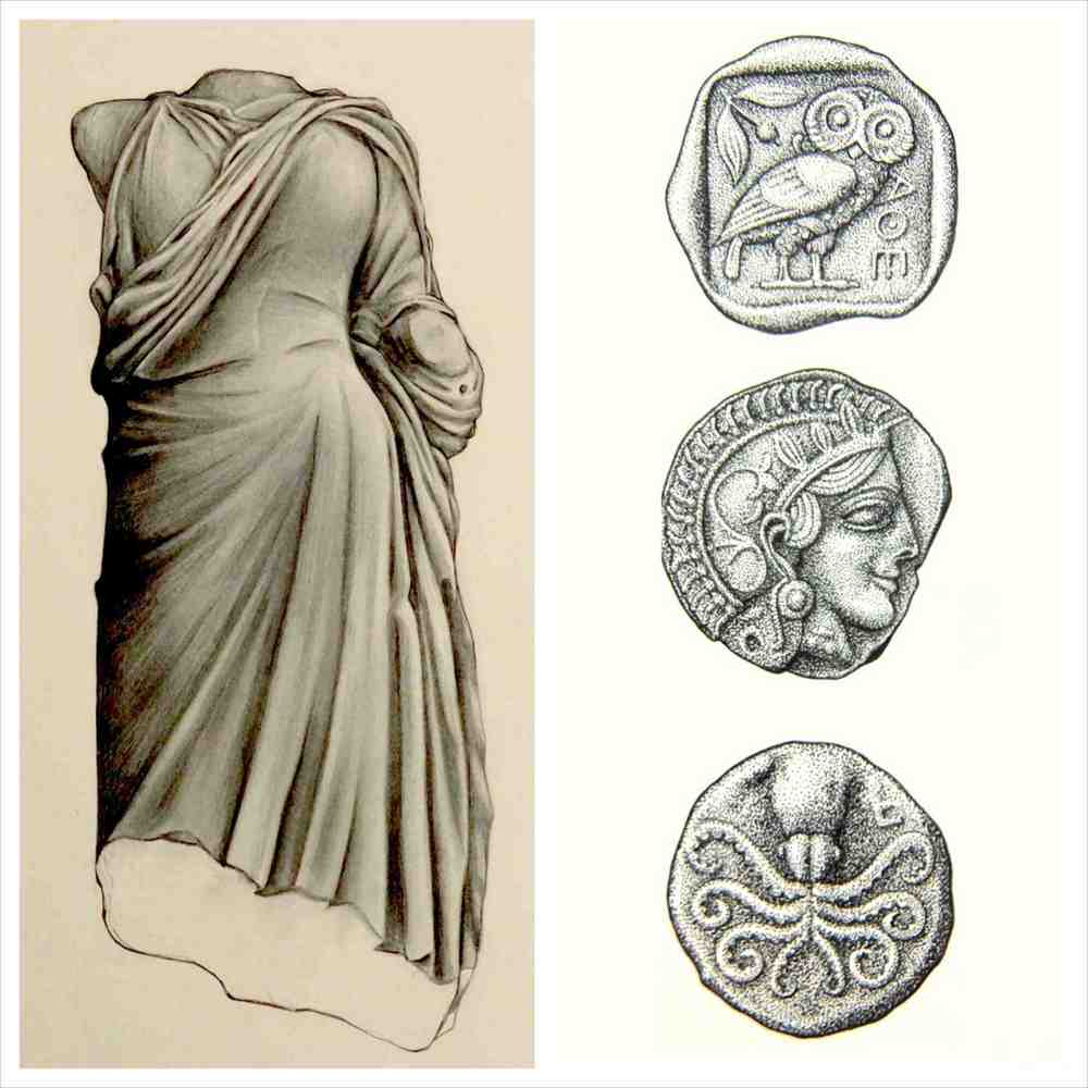 'Aphrodite Statue from Troizen Acropolis' (graphite) + 'Selection of Ancient Coins' (ink on paper)  Angus Fisher