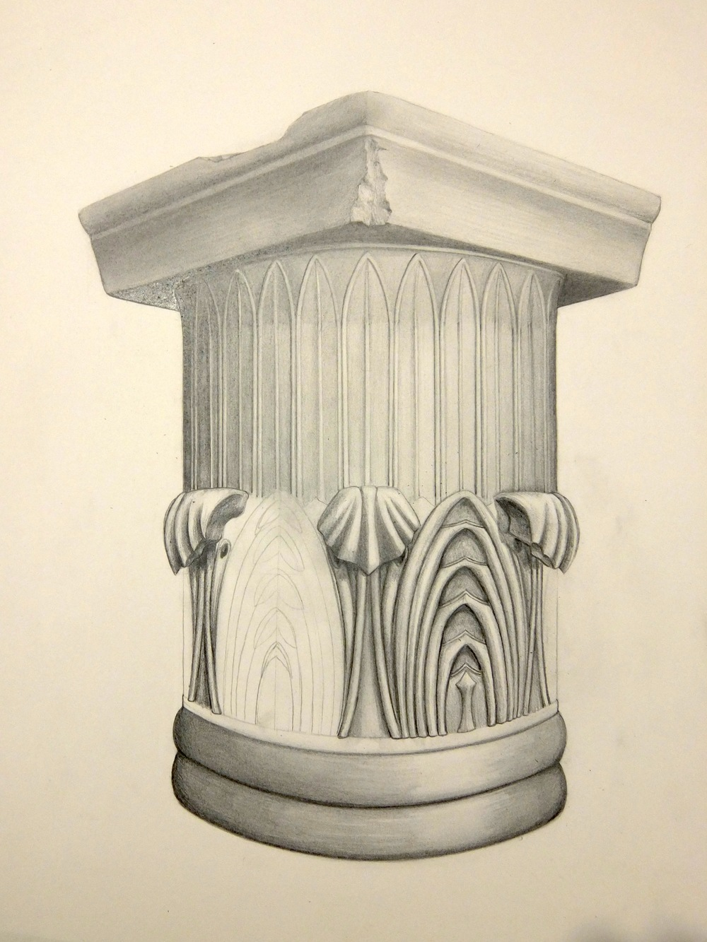 'Column from the Troizen Acropolis' (Graphite) Angus Fisher