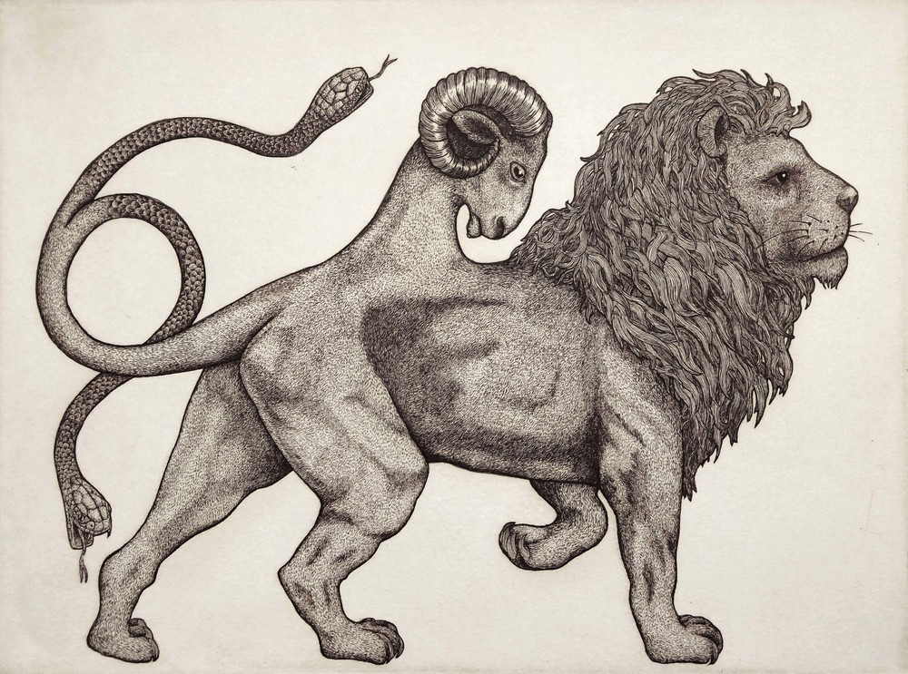 'Chimera' etching (Angus Fisher) - 'Beastarium' Print Folio