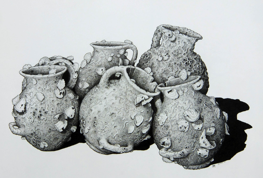 'Amphora from the Sea Floor' (Ink Pen Drawing) Angus Fisher