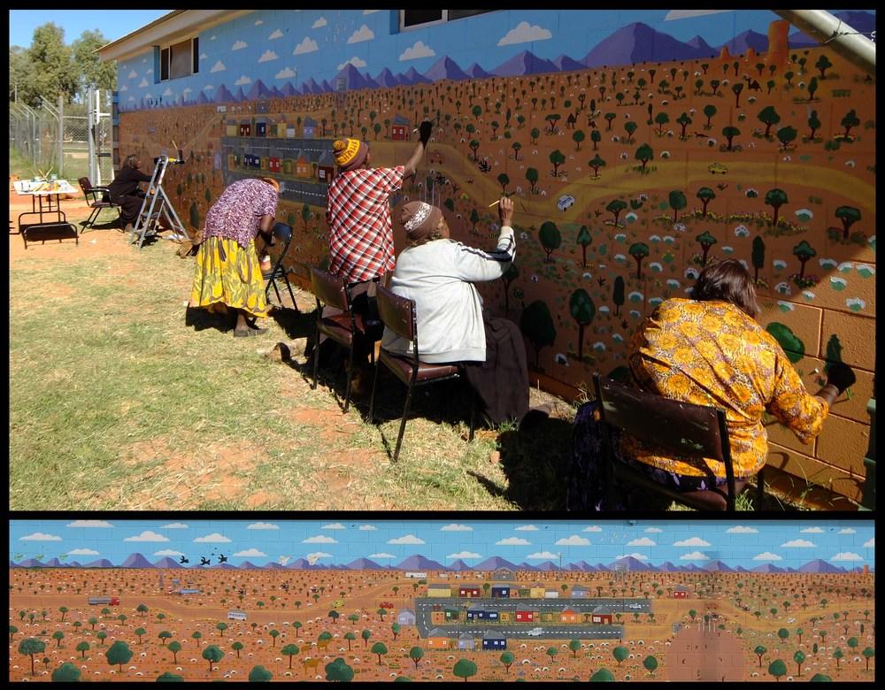 Mural Painting (Marie + Angeline Shilling, Hazel Ungawanaka, Cora Meruntju and Sandra Summerfield) + Completed Mural