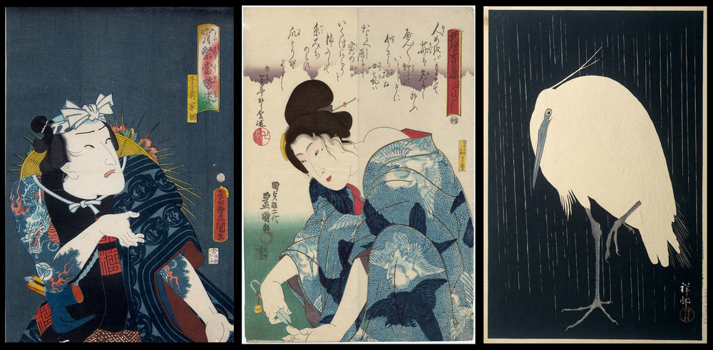 'Icimura Uzaemon XIII' Utagawa Kunisada (1862), 'A good day to cut ones nails' Utagawa Kunisada (1844), 'Little Egret in the rain' Ohara Khoson (1930)