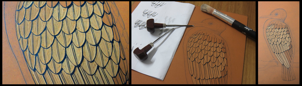 The first of several lino blocks being carved for a new multi-coloured print depicting a cormorant perched on a branch