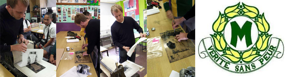 Printing lino blocks at Merrylands High School