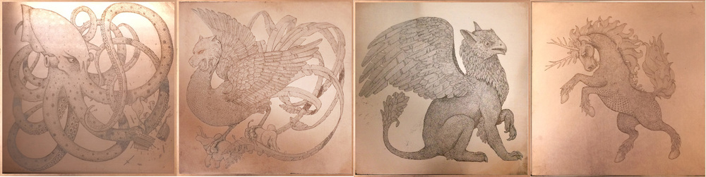 'Imaginary Creatures' Initial Copper Plate Etchings: 'The Kraken', 'The Simurgh', 'The Griffin' and 'The Qilin'