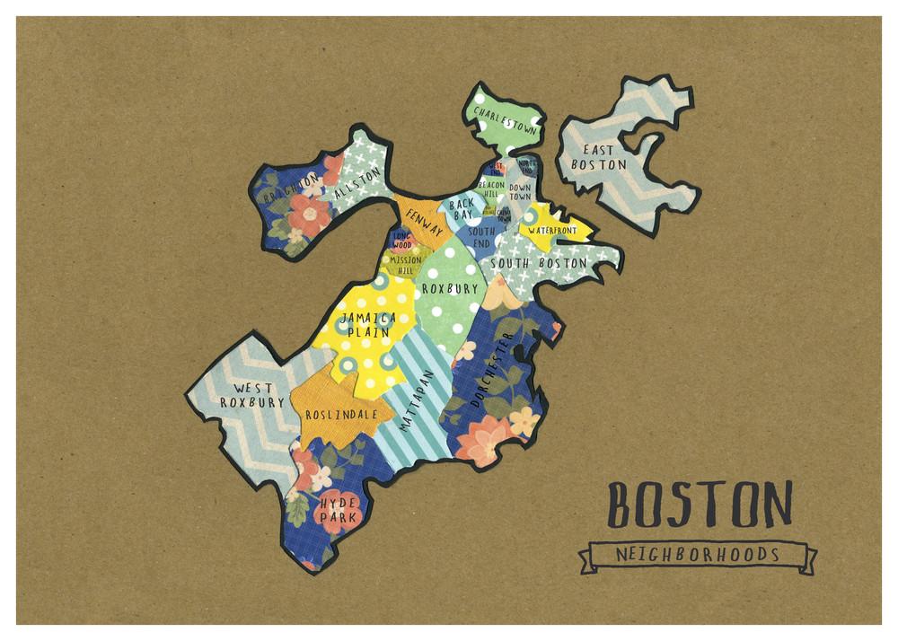 Boston Neighborhoods Map Linden Leaf Designs